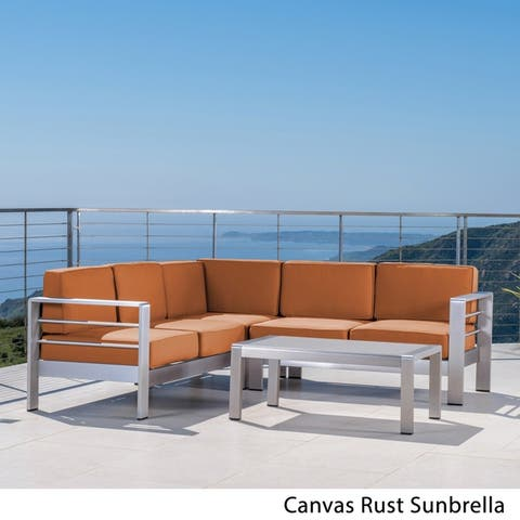 Cape Coral Outdoor 5 Seater Sectional Sofa Chat Set with Sunbrella Cushions by Christopher Knight Home