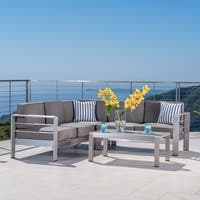 Cape Coral Outdoor Aluminum 4-piece Sofa Set with Cushions (Optional Sunbrella) by Christopher Knight Home