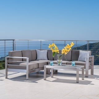 Cape Coral Outdoor Aluminum 4 Piece Sofa Set With Cushions By Christopher  Knight Home