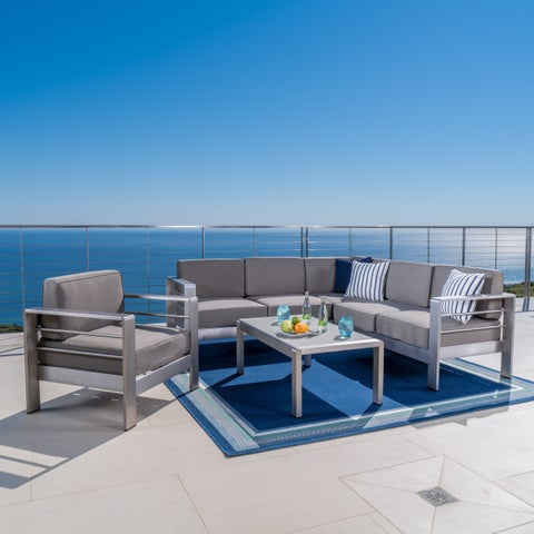 Cape Coral Outdoor Aluminum 5-piece Sofa Set with Optional Sunbrella Cushions by Christopher Knight Home
