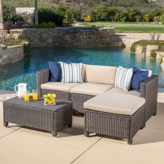 Oliver & James Moses 5-piece Outdoor Sofa Set (Option: Brown Wicker with Beige Cushions)