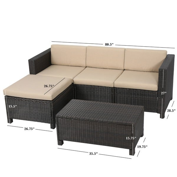 Outdoor Puerta PE Wicker Lshaped Sectional 5piece Sofa Set with