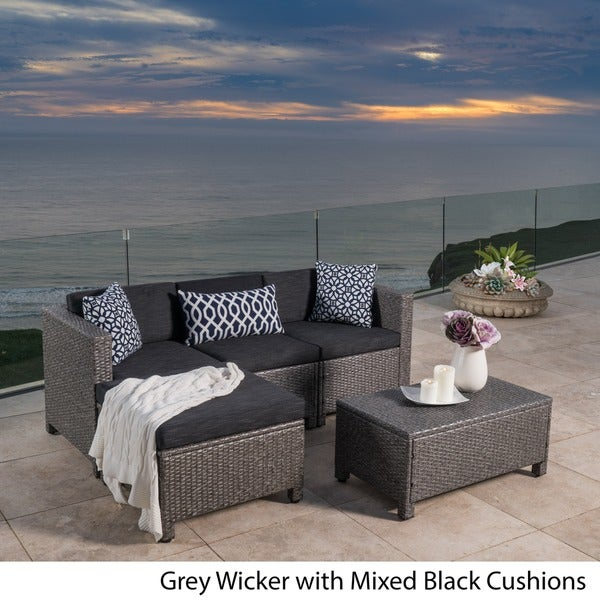 Outdoor Puerta PE Wicker L Shaped Sectional 5 Piece Sofa Set With Cushions  By Christopher Knight Home   Free Shipping Today   Overstock.com   18105282