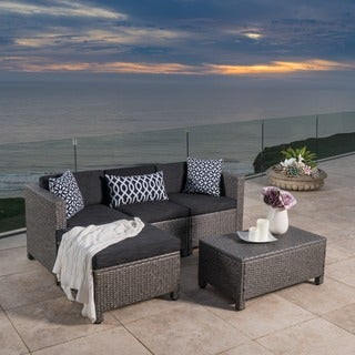 Charming Outdoor Puerta PE Wicker L Shaped Sectional 5 Piece Sofa Set With Cushions  By