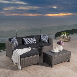Outdoor Puerta PE Wicker L Shaped Sectional 5 Piece Sofa Set With Cushions  By