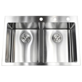 33-inch 15 mm Top-mount Drop-in Stainless Steel Double Bowl 50/50 Kitchen Sink