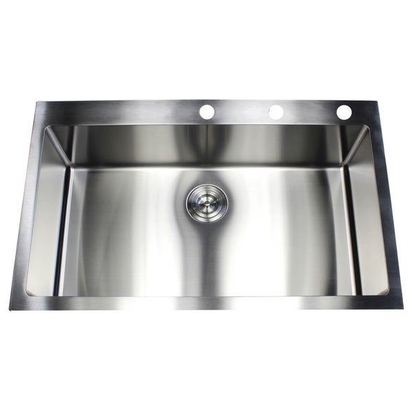 shop 36 inch topmount drop in stainless steel single bowl 15mm radius kitchen sink free. Black Bedroom Furniture Sets. Home Design Ideas