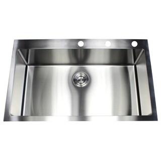 36-inch Topmount Drop-in Stainless Steel Single Bowl 15mm Radius Kitchen Sink