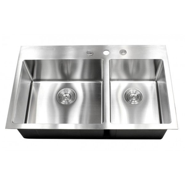 36-inch Topmount Drop-in Stainless Steel Double bowl 60/40 15mm ...