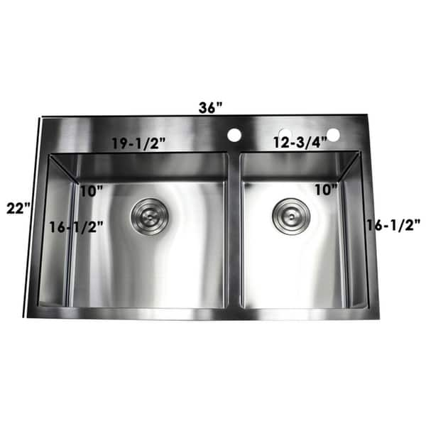 Shop 36-inch Topmount Drop-in Stainless Steel Double bowl 60 ...