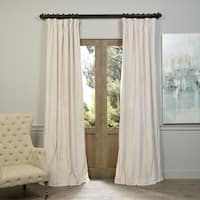 "Exclusive Fabrics Signature Ivory Velvet Blackout Curtain Panel 96"" L (As Is Item)"