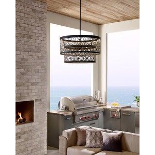 Feiss Arramore 2-light Dark Weathered Zinc Pendant