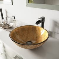 VIGO Amber Sunset Glass Vessel Bathroom Sink and Niko Faucet Set