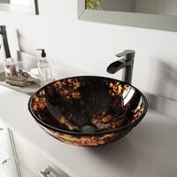 VIGO Brown and Gold Fusion Glass Vessel Bathroom Sink and Niko Faucet Set in Antique Rubbed Bronze Finish