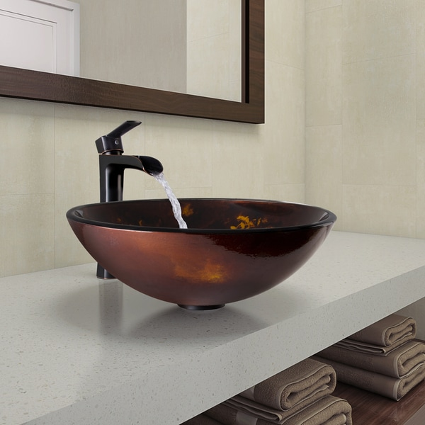 Vigo brown and gold fusion glass vessel bathroom sink and for Brown and gold bathroom sets