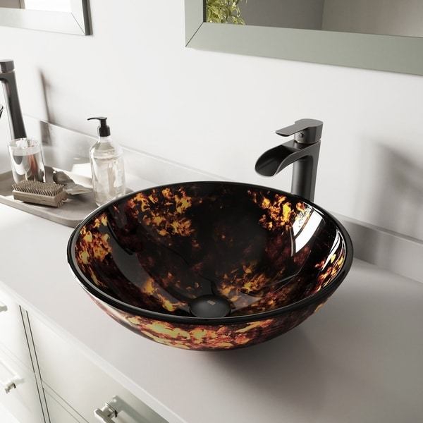 VIGO Brown and Gold Fusion Glass Vessel Sink and Niko Faucet Set