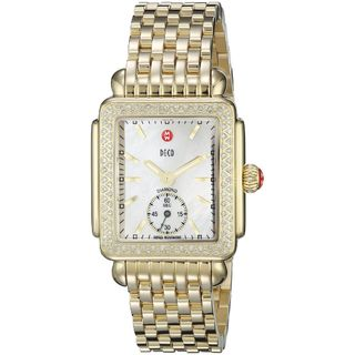Michele Women's MWW06V000003 'Deco 16' Diamond Gold-Tone Stainless Steel Watch