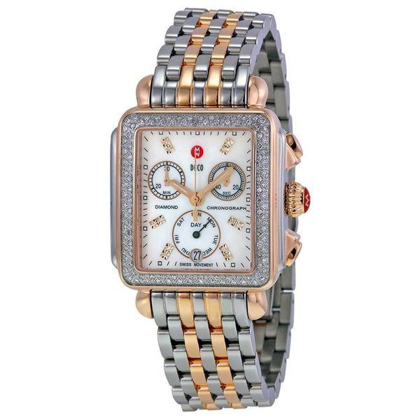 71f4cd496 Shop Michele Women's MWW06P000232 'Deco' Chronograph Diamond Two ...
