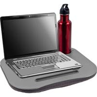Business-Class Portable Laptop Lap Desk - Built-In 360 LED Light and Cup Holder - Microbead Base - Laptop Lapdesk, Grey