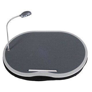 Business-Class Portable Laptop Lap Desk - Built-In 360 LED Light and Cup Holder - Microbead Base - Laptop Lapdesk, Black