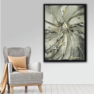 ArtWall Susanna Shaposhnikova's Black Gold Swirl, Gallery Wrapped Floater-framed Canvas