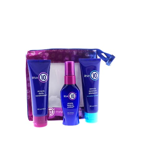It's a 10 Miracle Travel Bag with Shampoo, Conditioner, and Leave-in Treatment