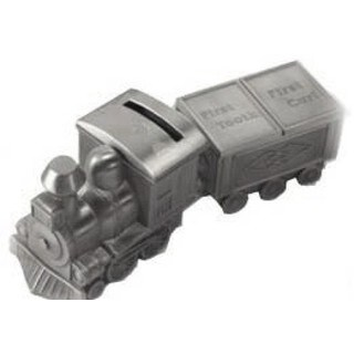 Heim Concept Pewterplated Train Bank, Tooth and Curl Boxes Set