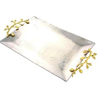 Heim Concept Gilt Leaf Rectangular Tray Stainless Steel