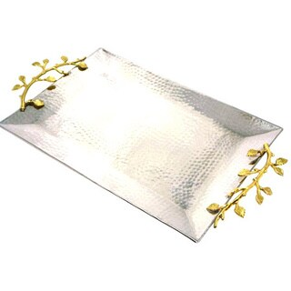 Heim Concept Gilt Leaf Rectangular Tray Stainless Steel