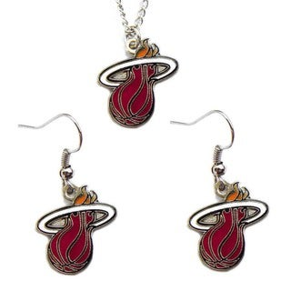NBA Miami Heat Necklace and Dangle Earring Charm Set