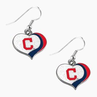 MLB Cleveland Indians Glitter Heart Earring Swirl Charm Set
