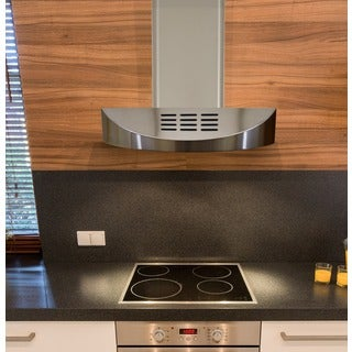 KOBE CHX3830SQBD-WM-3 Brillia 30-inch Wall Mount Range Hood, 3-Speed, 400 CFM, LED Lights, Baffle Fi