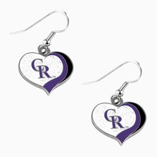 MLB Colorado Rockies Glitter Heart Earring Swirl Charm Set
