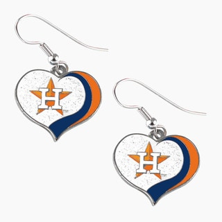 MLB Houston Astros Glitter Heart Earring Swirl Charm Set