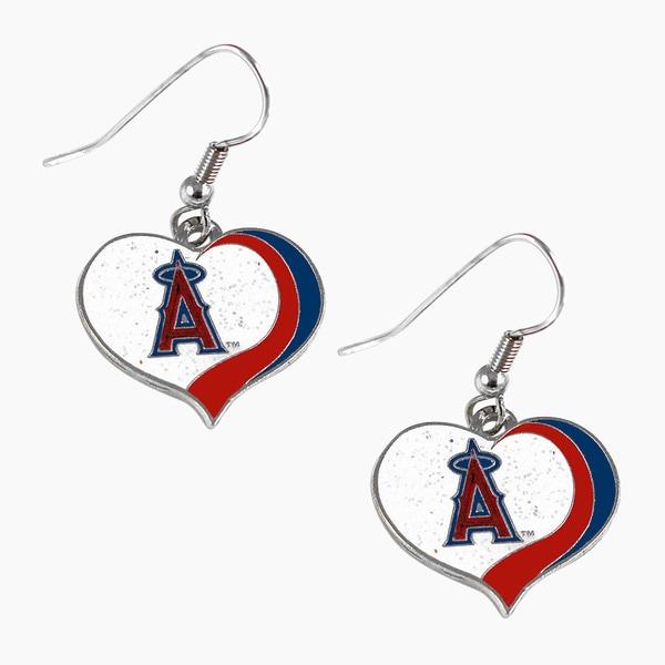 MLB Los Angeles Angels Glitter Heart Earring Swirl Charm Set