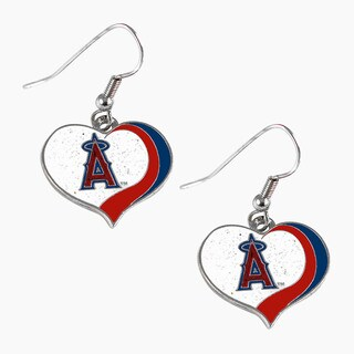 MLB Los Angeles Angels Glitter Heart Earring Swirl Charm Set (Option: Los Angeles Angels)