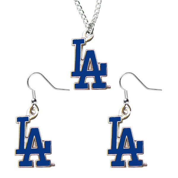 MLB Los Angeles Dodgers Necklace and Dangle Earring Charm Set