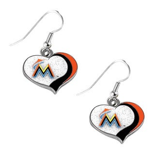 MLB Miami Marlins Glitter Heart Earring Swirl Charm Set