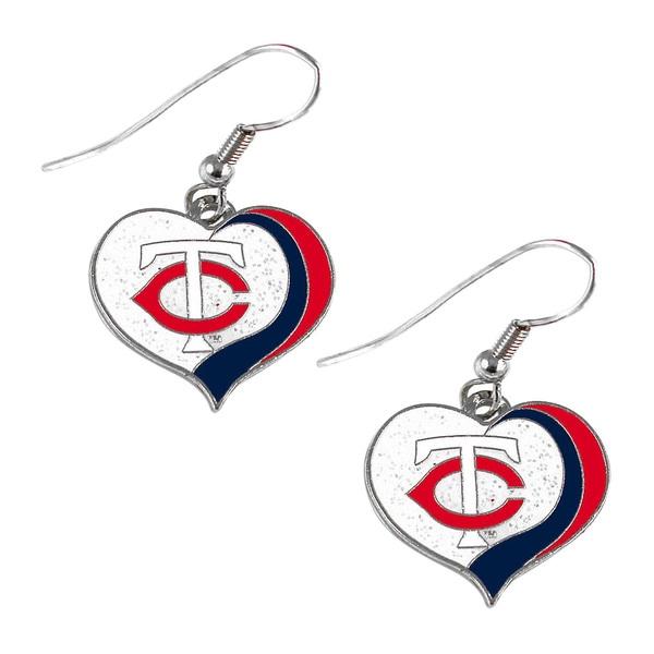 MLB Minnesota Twins Glitter Heart Earring Swirl Charm Set