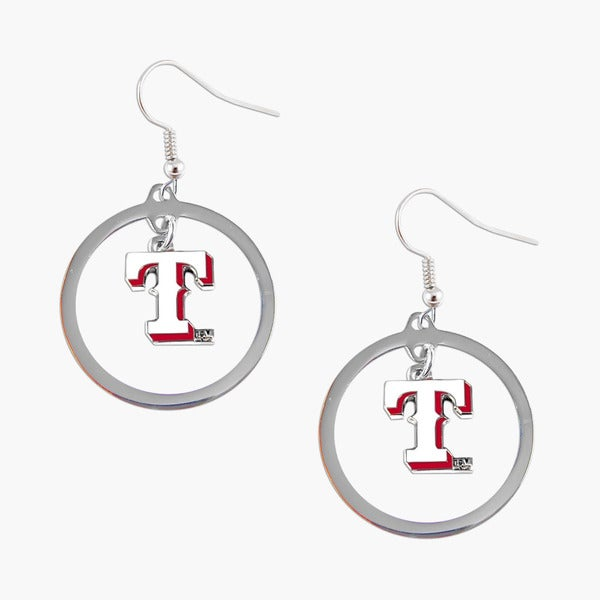 MLB Texas Rangers Floating Logo Hoop Earring Set