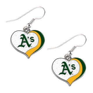 MLB Oakland Athletics Glitter Heart Earring Swirl Charm Set