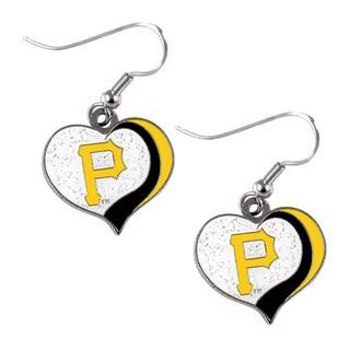 MLB Pittsburgh Pirates Glitter Heart Earring Swirl Charm Set