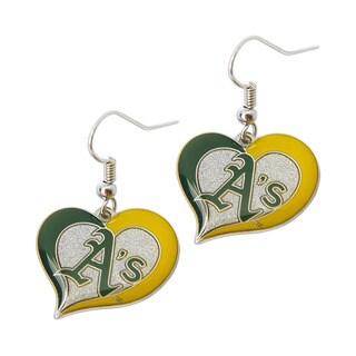 MLB Oakland A's Sports Team Logo Swirl Heart Earring
