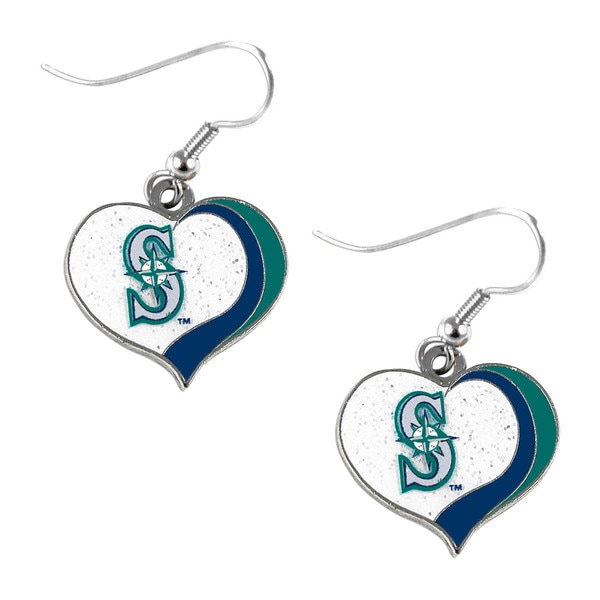 MLB Seattle Mariners Glitter Heart Earrings Swirl Charm Set