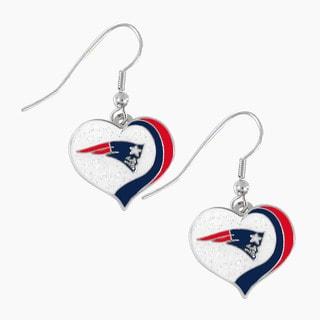 NFL New England Patriots Glitter Heart Earring Swirl Charm Set