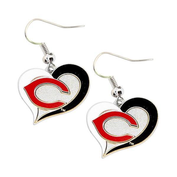 Cincinnati Reds Sports Team Logo Swirl Heart Earring