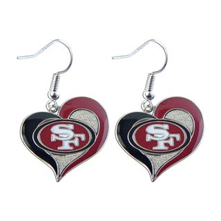 NFL San Francisco 49ers Swirl Heart Shape Dangle Sports Team Logo Earring Set