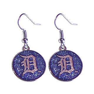 MLB Detroit Tigers Glitter Sparkle Dangle Logo Earring Set