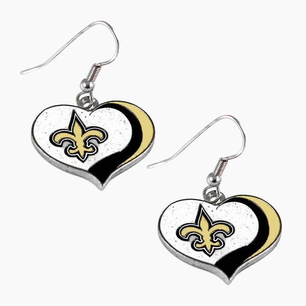 NFL New Orleans Saints Glitter Heart Earring Swirl Charm Set