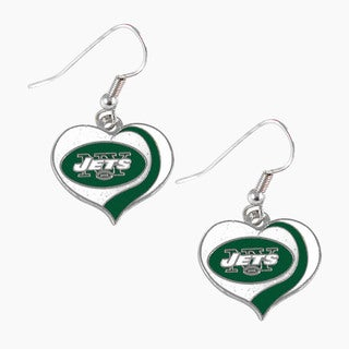 NFL New York Jets Glitter Heart Earring Swirl Charm Set